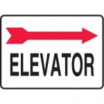 "Accuform MADC510XV, Safety Sign ""Elevator"" Right Arrow Dura-Vinyl"