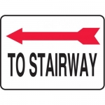 "Accuform MADC515XV10, Safety Sign ""To Stairway"" Left Arrow Dura-Vinyl"