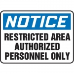 """Accuform MADC808XV10, Notice Safety Sign """"Restricted Area…"""""""