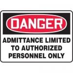 "Accuform MADM005XV10, OSHA Danger Safety Sign ""Admittance Limited…"""