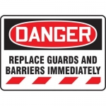 """Accuform MADM109VA, Sign """"Replace Guards and Barriers Immediately"""""""