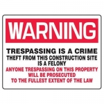 "Accuform MADM309XF, Warning Safety Sign ""Trespassing Is A Crime…"""