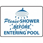"Accuform MADM425XT, Safety Sign ""Please Shower Before Entering Pool"""
