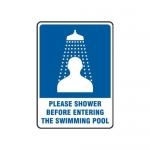 """Accuform MADM432XT10, Safety Sign """"Please Shower Before Entering…"""""""