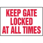 """Accuform MADM549XL10, Safety Sign """"Keep Gate Locked at All Times"""""""