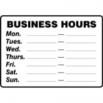 """Accuform MADM566XL10, Safety Sign """"Business Hours…"""" Aluma-Lite"""