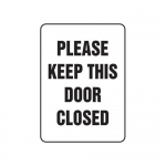 """Accuform MADM574XT10, Safety Sign """"Please Keep This Door Closed"""""""