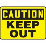 """Accuform MADM608VS10, OSHA Caution Safety Sign """"Keep Out"""" Vinyl"""