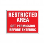 "Accuform MADM640XT10, Restricted Area Safety Sign ""Get Permission…"""