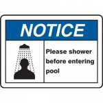 """Accuform MADM708XT10, ANSI Safety Sign """"Please Shower Before…"""""""