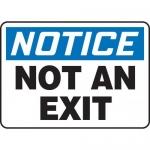 "Accuform MADM710XL, OSHA Notice Safety Sign ""Not An Exit"" Aluma-Lite"