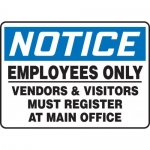 """Accuform MADM824XV10, OSHA Notice Safety Sign """"Employees Only…"""""""