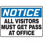 """Accuform MADM828XV10, OSHA Safety Sign """"All Visitors Must Get…"""""""