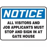 "Accuform MADM875XF10, Safety Sign ""All Visitors and Job Applicants…"""