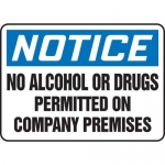 """Accuform MADM881XT10, OSHA Notice Safety Sign """"No Alcohol or Drugs…"""""""