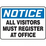 "Accuform MADM893XT10, OSHA Notice Safety Sign ""All Visitors Must…"""