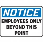 """Accuform MADM894XV10, OSHA Notice Safety Sign """"Employees Only…"""""""