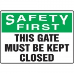 """Accuform MADM902XL10, Safety Sign """"This Gate Must Be Kept Closed"""""""