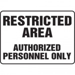 """Accuform MADM924XV10, Safety Sign """"Restricted Area…"""" Dura-Vinyl"""