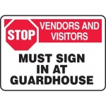 """Accuform MADM960XV10, Safety Sign """"Stop – Vendors and Visitors…"""""""