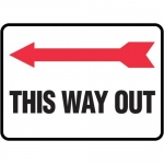"Accuform MADM991XV10, Safety Sign ""This Way Out"" Arrow Left Dura-Vinyl"