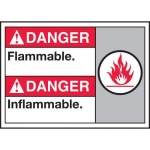 """Accuform MAFC113XT10, Bilingual ANSI Danger Safety Sign """"Flammable"""""""