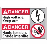 """Accuform MAFC125XT10, Bilingual Safety Sign """"High Voltage Keep Out"""""""