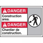 """Accuform MAFC130XL10, Bilingual Danger Safety Sign """"Construction Area"""""""