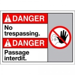 """Accuform MAFC139XT10, Bilingual Danger Safety Sign """"No Trespassing"""""""