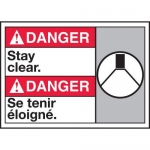"""Accuform MAFC149XT10, Bilingual ANSI Danger Safety Sign """"Stay Clear"""""""