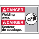 """Accuform MAFC153XT10, Bilingual ANSI Danger Safety Sign """"Welding Area"""""""
