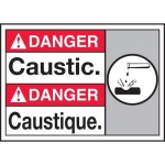 """Accuform MAFC155XT10, Bilingual ANSI Danger Safety Sign """"Caustic"""""""