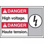 "Accuform MAFC171XT10, Bilingual ANSI Danger Safety Sign ""High Voltage"""