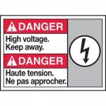"""Accuform MAFC175XT10, Bilingual Safety Sign """"High Voltage Keep Away"""""""