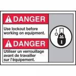 """Accuform MAFC183XT10, Bilingual Safety Sign """"Use Lockout Before…"""""""