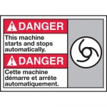 """Accuform MAFC192XT10, Bilingual Safety Sign """"This Machine Stops…"""""""