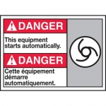 """Accuform MAFC193XT10, Bilingual Safety Sign """"This Equipment Starts…"""""""