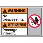 "Accuform MAFC317XT10, Bilingual Warning Safety Sign ""No Trespassing"""