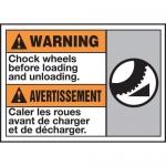 """Accuform MAFC386XT10, Bilingual Warning Safety Sign """"Chock Wheels…"""""""