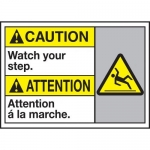"""Accuform MAFC661XT10, Bilingual Caution Safety Sign """"Watch Your Step"""""""