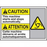 """Accuform MAFC665XT10, Bilingual Safety Sign """"This Machine Starts…"""""""