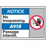 "Accuform MAFC813XT10, Bilingual ANSI ISO Notice Sign ""No Trespassing"""