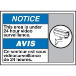 """Accuform MAFC816XT10, Bilingual ANSI Sign """"This Area Under 24 Hour…"""""""