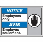 """Accuform MAFC829XT10, Bilingual ANSI ISO Safety Sign """"Employees Only"""""""
