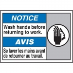 "Accuform MAFC839XT10, Bilingual Safety Sign ""Wash Hands Before…"""