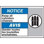 """Accuform MAFC841XT10, ANSI Safety Sign """"Keep All Cylinders Chained"""""""