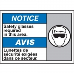 """Accuform MAFC852XT10, Bilingual ISO Safety Sign """"Safety Glasses…"""""""