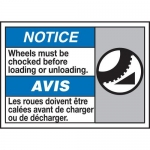 """Accuform MAFC886XT10, Bilingual ISO Sign """"Wheels Must Be Chocked…"""""""