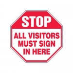 """Accuform MAST214XF10, Stop Safety Sign """"All Visitors Must Sign In …"""""""