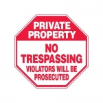 """Accuform MAST218XF10, Private Property Safety Sign """"No Trespassing…"""""""